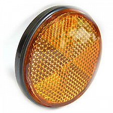 60mm x 6mm Amber Round Bolt-On Reflector with Chrome Rim